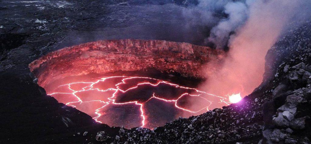 Lava breaking apart inside of a volcano