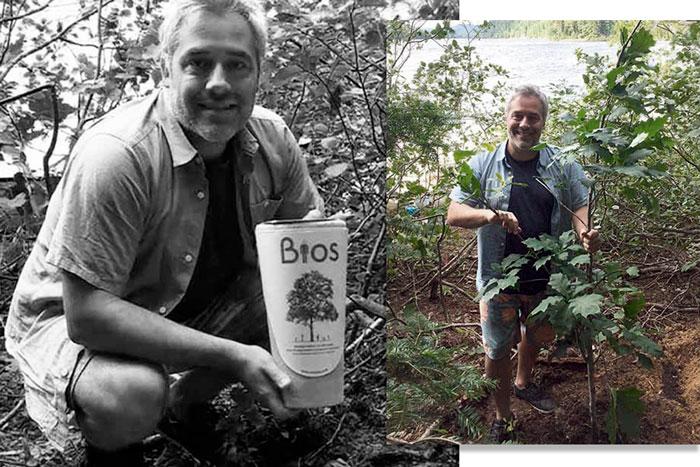 Mathieu a planté l'Urne Bios® de sa mère près d'une forêt au Québec